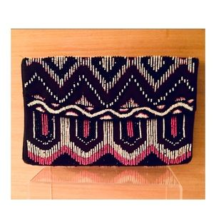 Black Envelope Clutch with Pink and White Beading